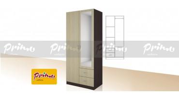 PRIMO 6 - Двукрилен гардероб с чекмеджета и огледало
