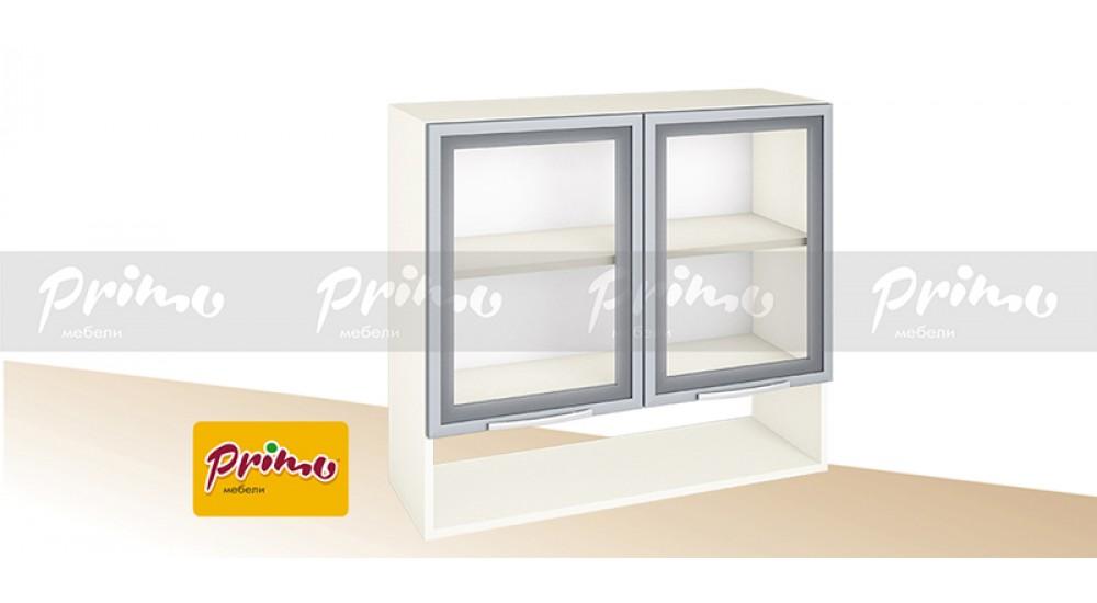 МОДУЛ PG 6 - Горен шкаф с две витрини и ниша